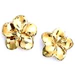 24k Gold Layered Flower Stud Earrings 11 Mm
